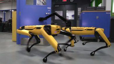 Bild von Roboter holt Roboter, der ihm die Tür öffnet