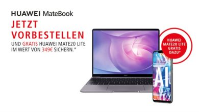 Photo of Huawei MateBook 13 vorbestellen und gratis Huawei Mate 20 Lite abstauben