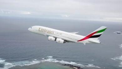 Bild von Start eines A380 mit der Drohne begleitet